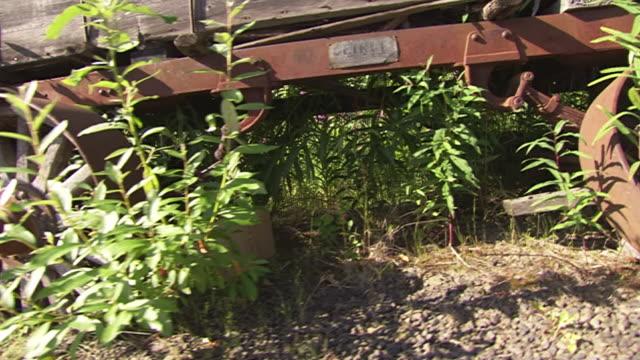 ecu zo pan shot of broken wagon wheels of old mining equipment on display at el dorado gold mine / fox, alaska, united states - cart stock videos & royalty-free footage