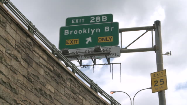 ms shot of brooklyn bridge exit sign / new york, new york, united states - exit sign stock videos & royalty-free footage