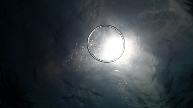 ms shot of bubble ring and sunburst in underwater / sipadan, semporna, tawau, malaysia - ring stock videos and b-roll footage
