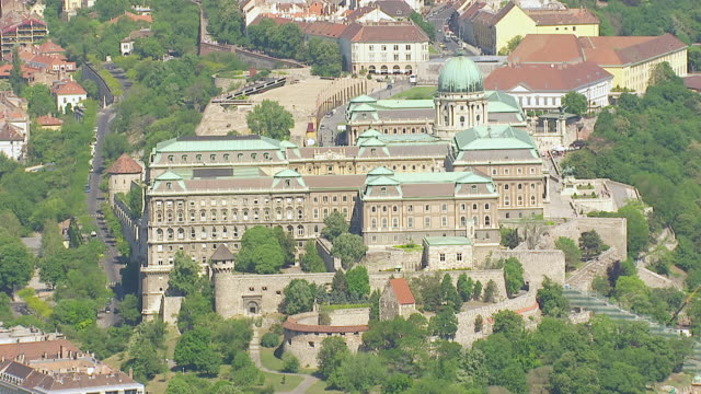 ms aerial shot of buda castle / budapest, hungary - royal palace of buda stock videos & royalty-free footage