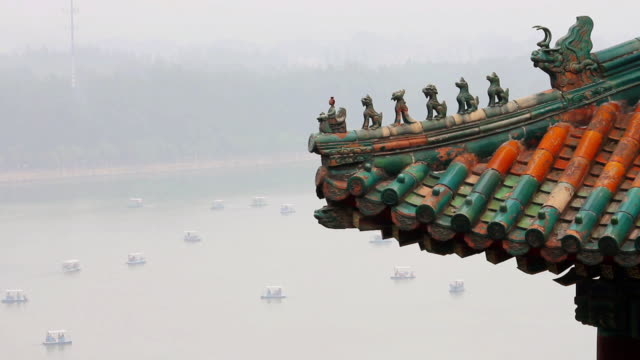 MS Shot of building roof and boats on Kunming Lake in Summer Palace / Beijing, China