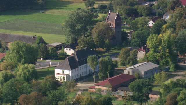 MS AERIAL Shot of buildings and farmland near Eberswalde / Germany