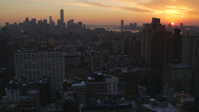 WS Shot of buildings at sunset / New York, United States