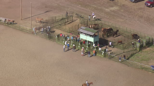MS AERIAL Shot of Bull riders standing cebin / Montana, United States