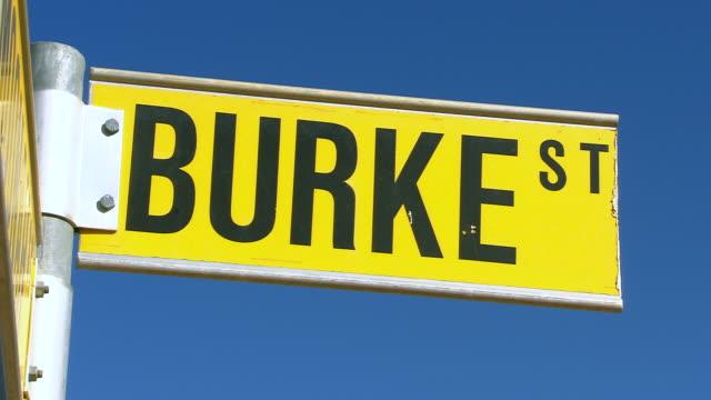 cu shot of burke st sign / boulia, queensland, australia - road sign stock videos & royalty-free footage