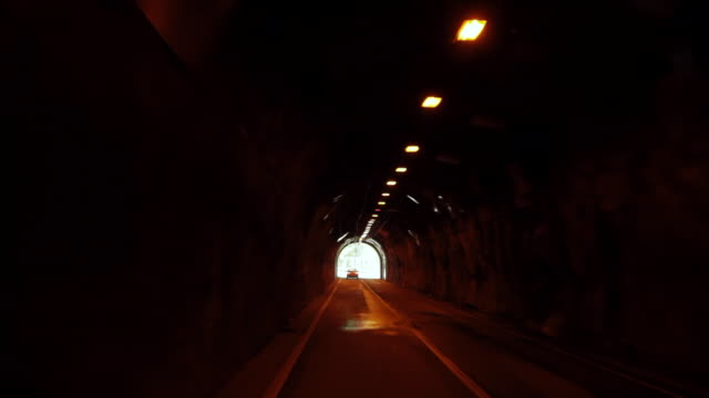 WS POV Shot of bus passing from tunnel / Okutama, Tokyo, Japan