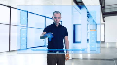 ms shot of businessman using big touch screen / bergen, hordaland, norway - interactivity stock videos & royalty-free footage