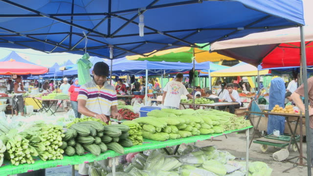 MS Shot of Busy market / Kota Kinabalu, Sabah, Malaysia