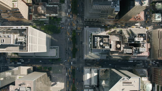aerial ms zi shot of busy roads in city / new york city  - moving towards stock videos & royalty-free footage