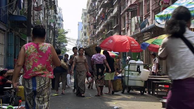 MS Shot of Busy street on market day / Yangon, Yangon Division, Myanmar