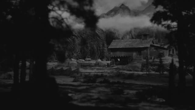 ms shot of cabin house with mountains in back side ranch - ranch house stock videos & royalty-free footage