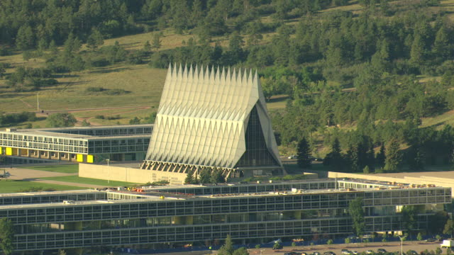 MS DS ZI AERIAL Shot of cadet chapel with seventeen spires pointing to sky at air force academy campus / Colorado, United States