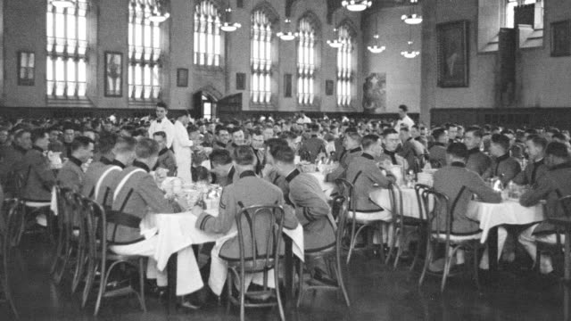 ms shot of cadets eating in west point dining room - west point new york stock videos & royalty-free footage