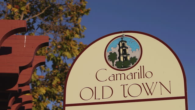 ms shot of camarillo old town sign board / camarillo, california, united states - camarillo stock videos & royalty-free footage