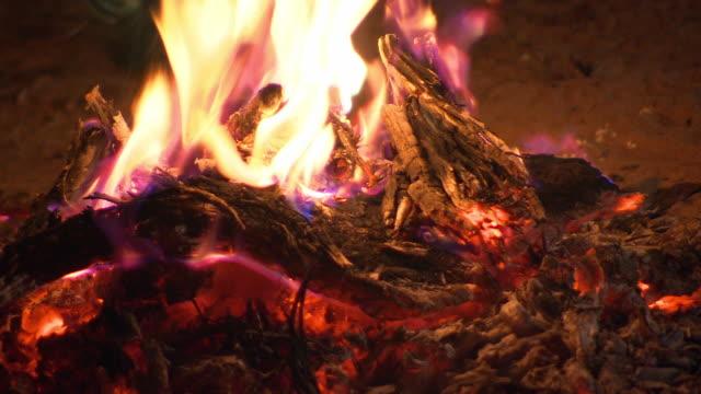 CU Shot of campfire / Broken Hill, New South Wales, Australia