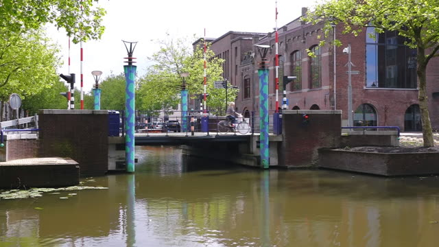 MS Shot of canal at Lage Gouwe near old town / Gouda, South Holland, Netherlands