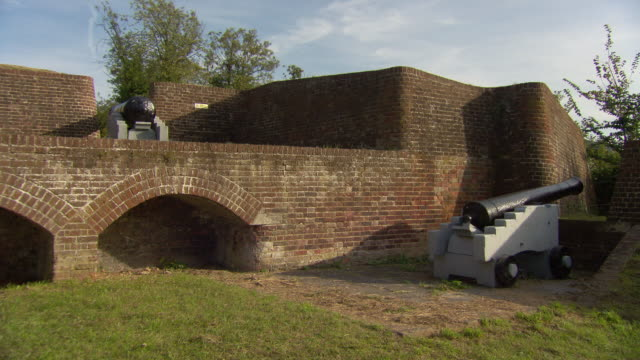 ms shot of cannons at fort / chatham, kent, united kingdom - kent england stock videos & royalty-free footage