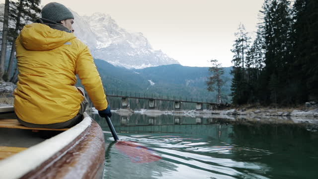 pov shot of canoeist, bavaria, germany - using a paddle stock videos & royalty-free footage