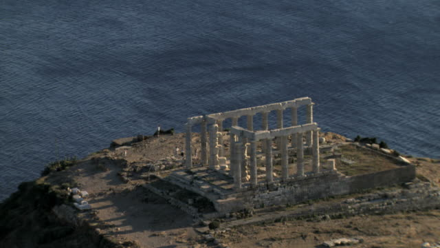 ms aerial shot of cape sounio in athens,athens, greece an ancient greek temple of poseidon / athens, greece - temple of poseidon stock videos and b-roll footage
