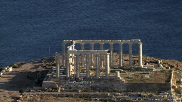 MS AERIAL Shot of  cape Sounio in Athens,Athens, Greece An ancient Greek Temple of Poseidon / Athens, Greece