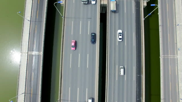 aerial shot of car driving on bridge/xi'an,china - railings stock videos & royalty-free footage