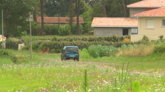 ms ts shot of car moving on road through greenfield / biarritz, france - aquitaine stock-videos und b-roll-filmmaterial