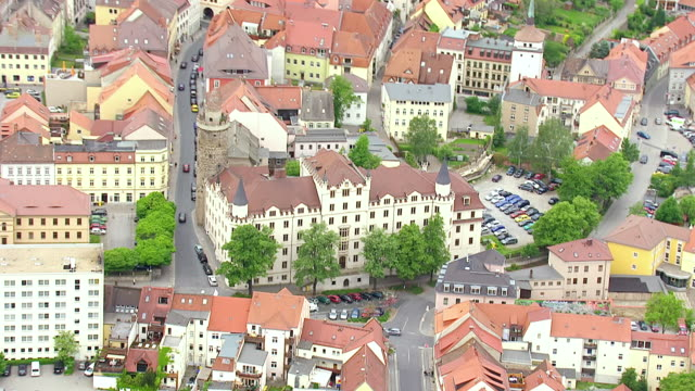 ms aerial shot of car parking at hilltop town in eastern saxony, most important cultural center of sorbs / bautzen, saxony, germany - saxony stock videos & royalty-free footage