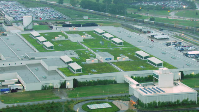 ms aerial shot of car plant buildings / dearborn, michigan, united states - dearborn michigan stock videos and b-roll footage