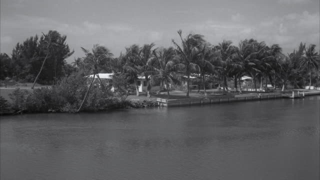 ms shot of castaways motel across canal at residence - backwater stock videos & royalty-free footage