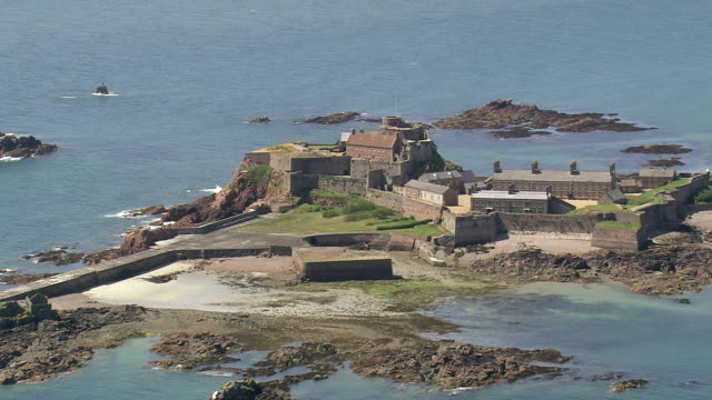 WS AERIAL Shot of castle cornet / Guernsey, Channel Isles