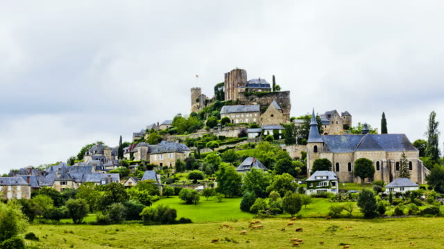 WS T/L Shot of castle in turenne village / Turenne, Limousin, France