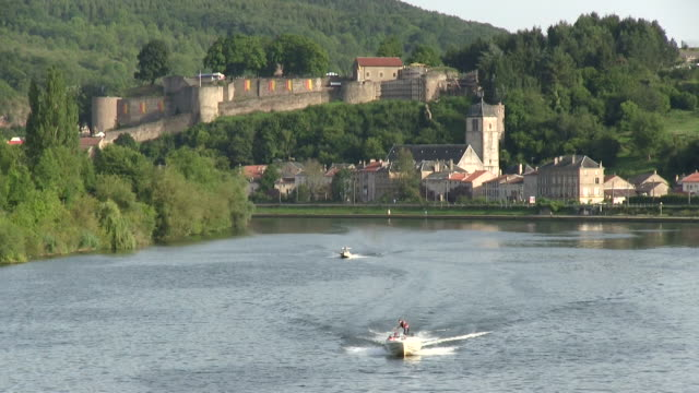 ws shot of castle with river moselle / sierck-les-bains, lorraine, france - lorraine stock videos & royalty-free footage