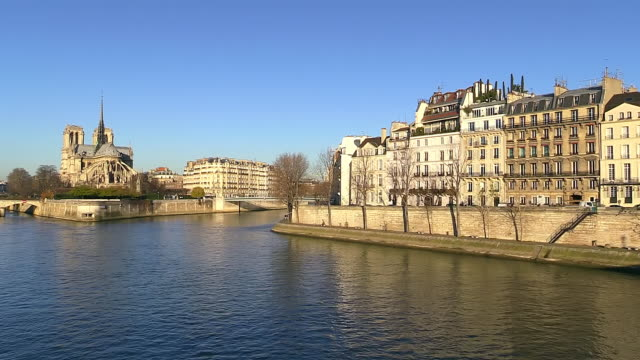 MS Shot of Cathedral Notre Dame and river / Paris, Ile de France, France