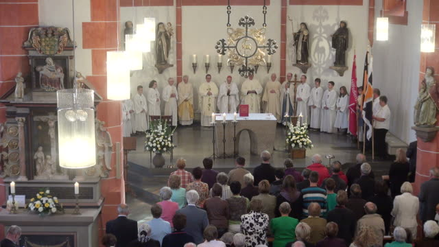 ms shot of catholic mass at curch st. marien saarburg-beurig, with cardinal meisner, cologne / saarburg, rhineland palatinate, germany - religious mass stock videos & royalty-free footage