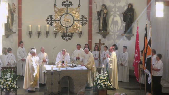 MS Shot of catholic mass at curch St. Marien Saarburg-Beurig, with cardinal Meisner, Cologne / Saarburg, Rhineland Palatinate, Germany