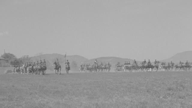 vídeos y material grabado en eventos de stock de ws ts shot of cavalry drill, soldiers riding on horses  - cavalry