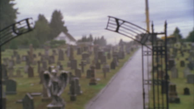 ms zo slo mo shot of cemetery - hearse stock videos & royalty-free footage