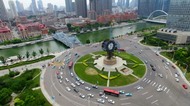 AERIAL shot of Centenary Clock nearby Train station/Tianjin,China