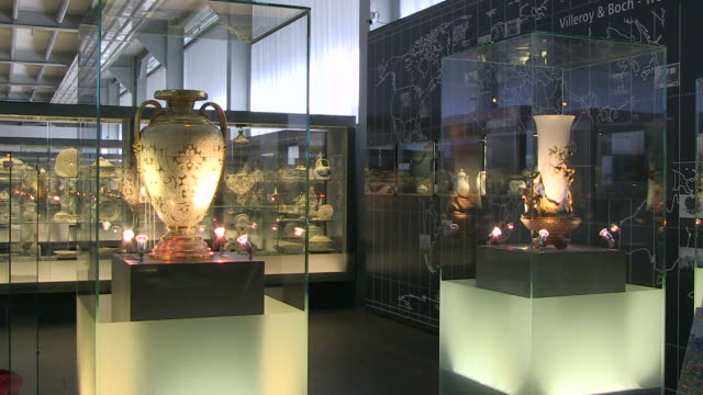 ms shot of ceramics museum villeroy und boch / mettlach, saarland, germany - vase stock videos & royalty-free footage