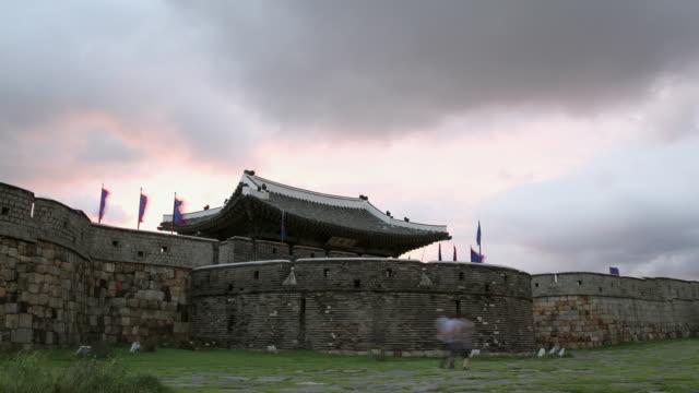 ms t/l zi shot of changnyongmun gate in suwonhwasung castle (unesco heritage) / suwon, gyeonggi-do, south korea - suwon stock videos and b-roll footage