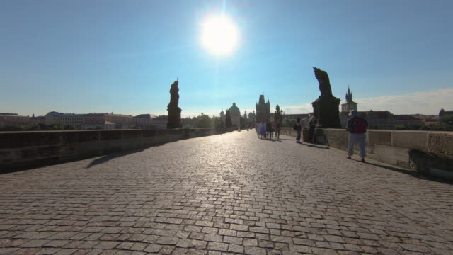 ms pov shot of charles bridge, prague, czech republic - czech republic stock videos & royalty-free footage