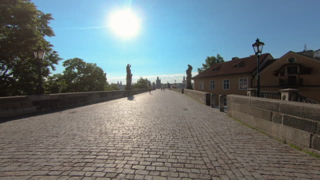 ws pov shot of charles bridge, prague, czech republic - charles bridge stock videos and b-roll footage
