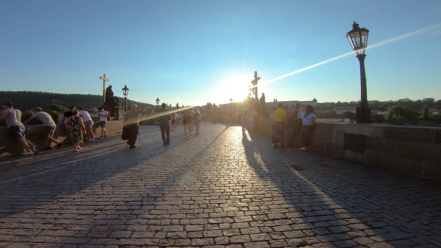ws pov shot of charles bridge, prague, czech republic - czech republic stock videos & royalty-free footage