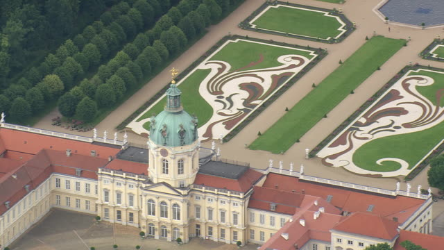 ms aerial zo shot of charlottenburg palace and garden / germany - dome stock videos & royalty-free footage