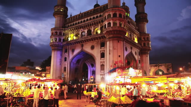 MS TU Shot of Charminar lit up at night / Hyderabad, Andhra Pradesh, India