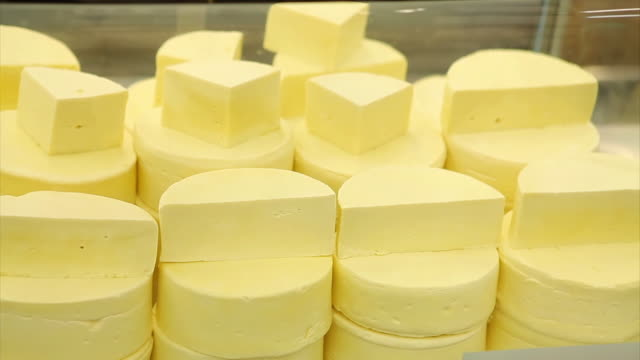 vídeos de stock, filmes e b-roll de ms pan shot of cheese / belo horizonte, minas gerais, brazil - dairy product