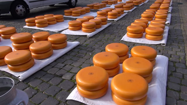 CU Shot of cheese market at Market square / Gouda, South Holland, Netherlands
