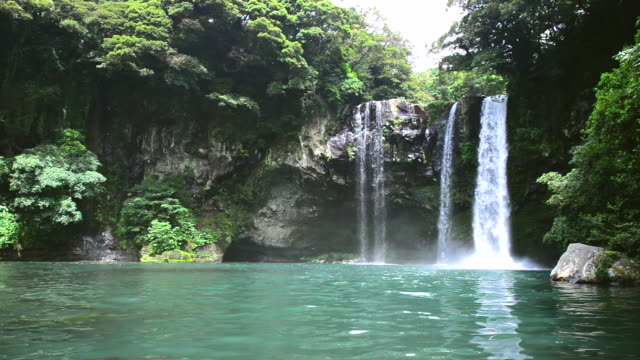 ms shot of cheonjeyeon waterfall on jeju island (natural monument heritage) / seogwipo, jeju-do, south korea - 瀑布 個影片檔及 b 捲影像