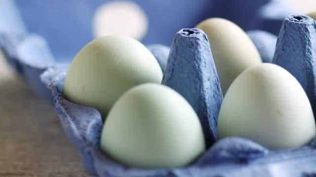 cu pan shot of chicken eggs in blue carton / london, united kingdom  - carton stock videos & royalty-free footage