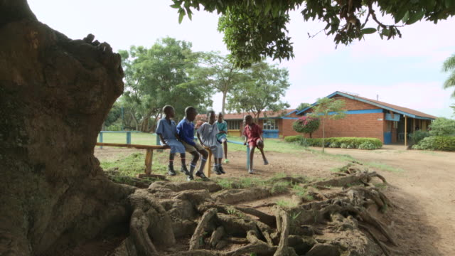 ms tu shot of children waiting for schoolbus under tree / kampala, uganda - ウガンダ点の映像素材/bロール
